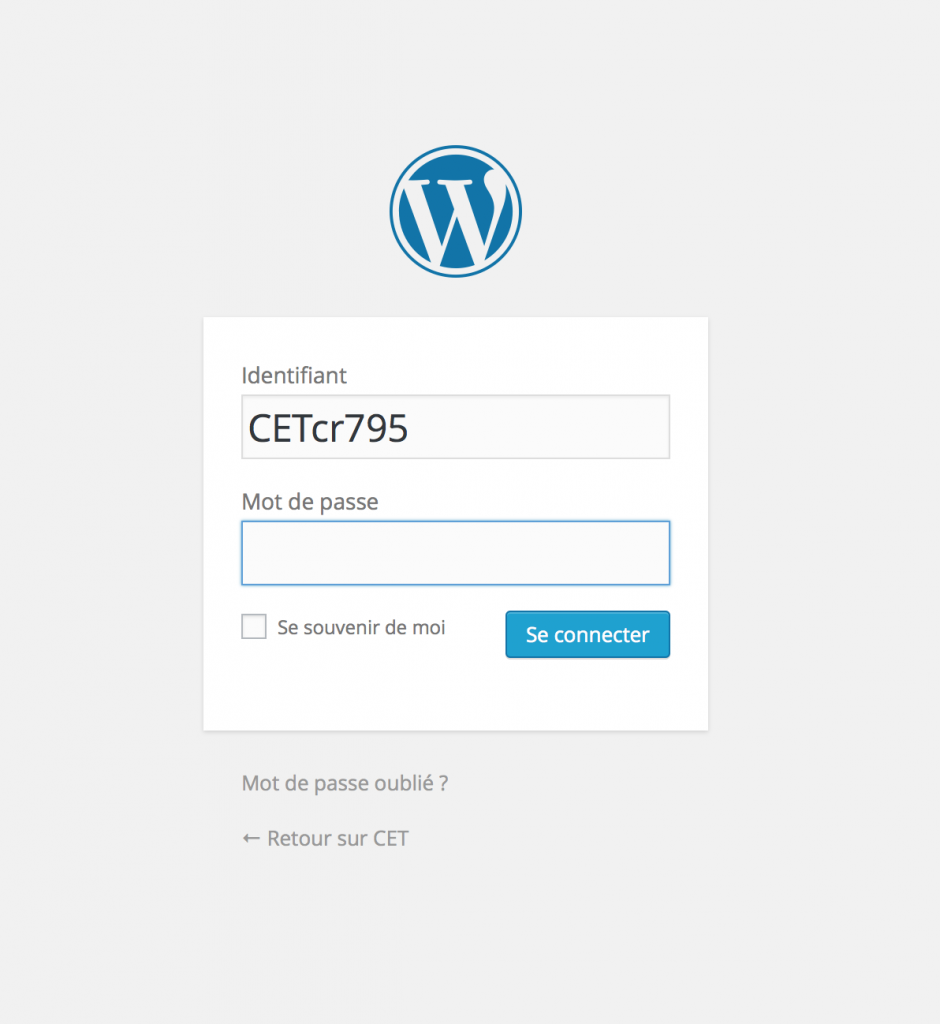 user wordpress login