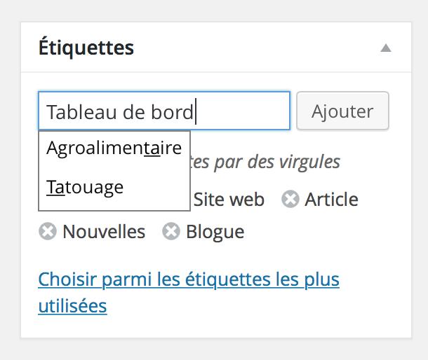 wordpress catégories nouvelle