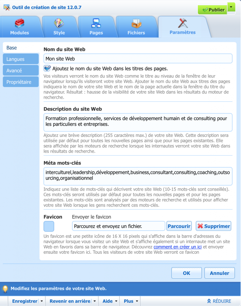 ajout description mot cles site web
