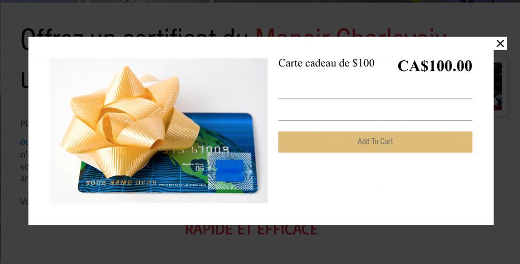 ajout de certificat cadeau online store