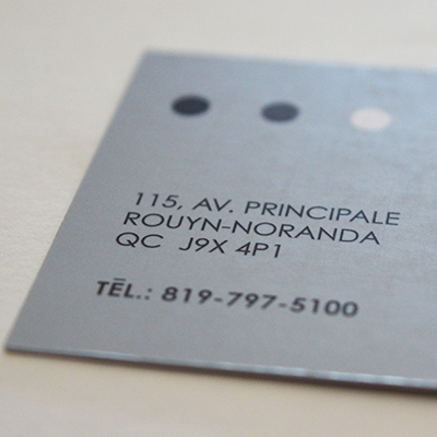 Cartes affaires argent pms metallique