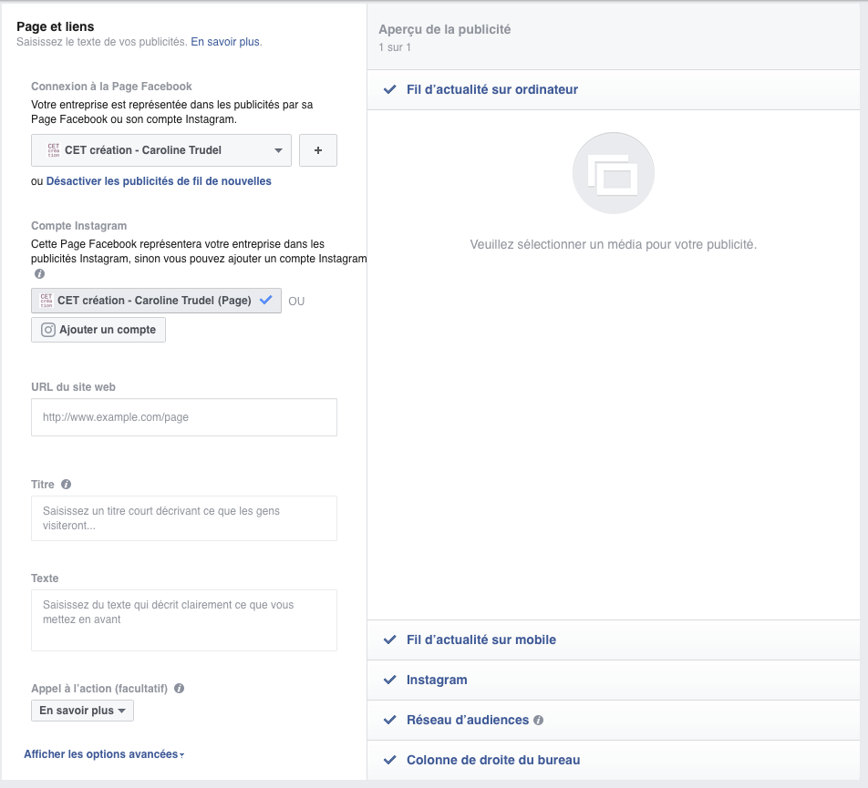 publicité Facebook options