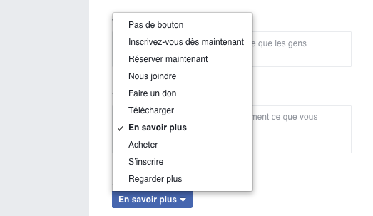 bouton appel action Facebook