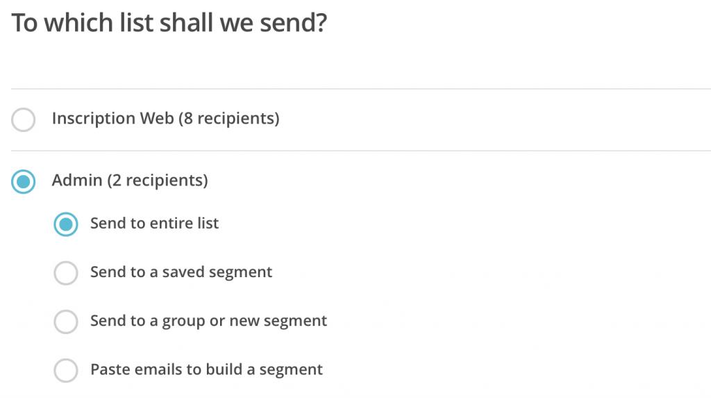 liste courriel envoie