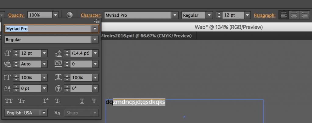 modifier du texte illustrator