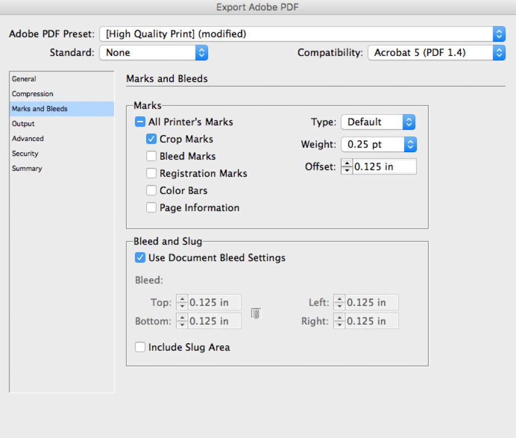 export pdf impression indesign