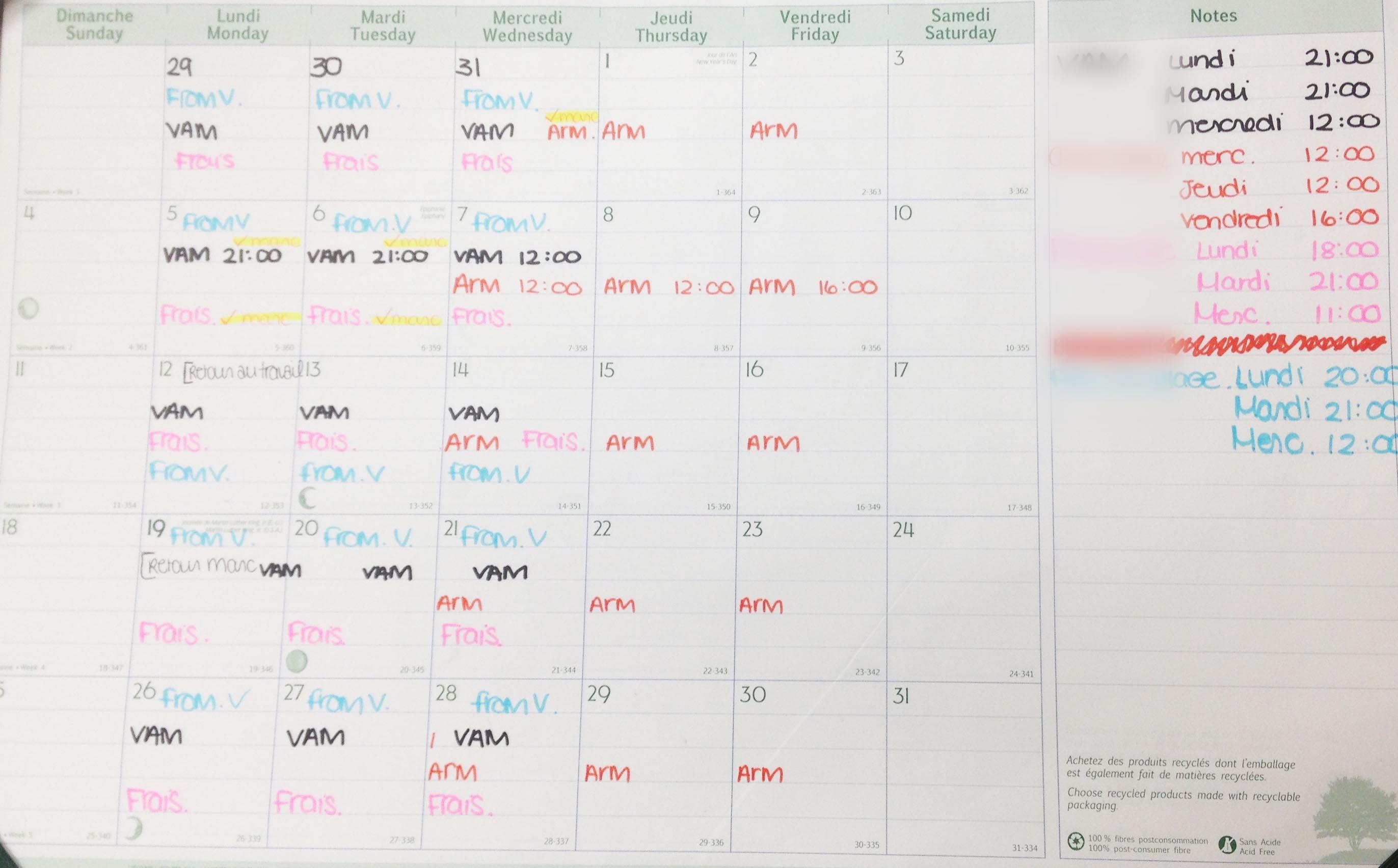 calendrier de publications
