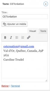 footer widget texte wordpress