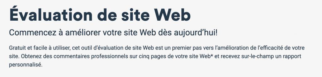 évaluation de site Web BDC